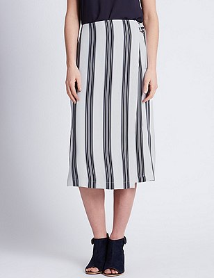 Ultimate D Ring Belted Striped A-Line Skirt, BLUE MIX, catlanding