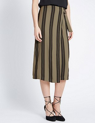 Ultimate D Ring Belted Striped A-Line Skirt, KHAKI MIX, catlanding