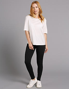 PETITE Modal Blend Super Skinny Jeggings, BLACK, catlanding