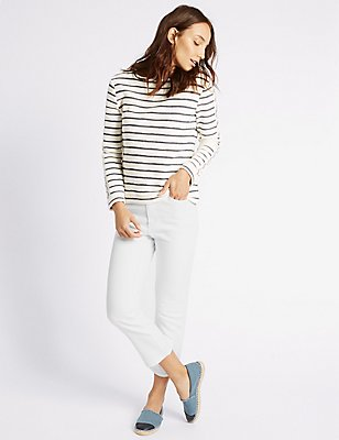 Flared Mid Rise Cropped Jeans, SOFT WHITE, catlanding