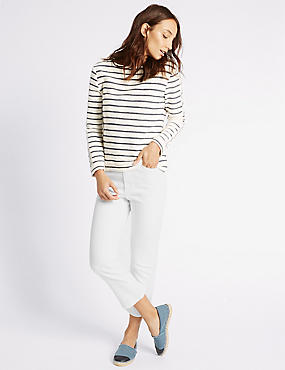 Mid Rise Cropped Flare Jeans, SOFT WHITE, catlanding