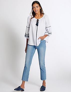 Pantacourt en jean coupe évasée taille normale, , catlanding