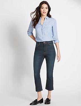 Pantacourt en jean coupe évasée taille normale, INDIGO FONCÉ, catlanding