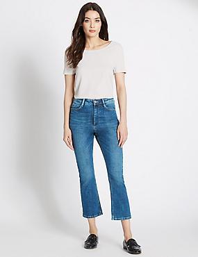 Pantacourt en jean coupe évasée taille normale, INDIGO MOYEN, catlanding