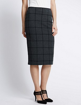 Checked Midi Pencil Skirt, GREY MIX, catlanding