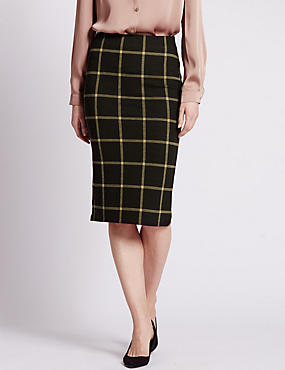 Checked Midi Pencil Skirt