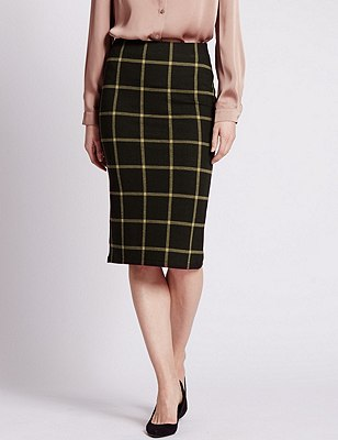 Checked Midi Pencil Skirt, BLACK MIX, catlanding