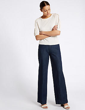 Jeans met hoge taille en wijde pijpen, INDIGO MIX, catlanding