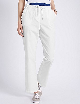 Pure Cotton Rugby Trousers, WHITE, catlanding