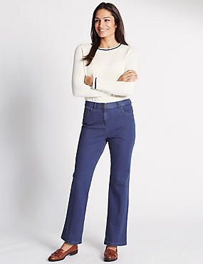 Mid Rise Straight Leg Jeans , MEDIUM BLUE, catlanding