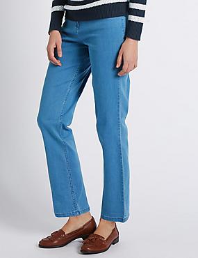Mid Rise Straight Leg Jeans , CHAMBRAY, catlanding