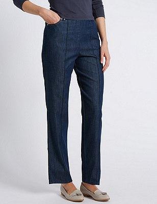 Ultimate Comfort Tapered Leg Jeans, INDIGO, catlanding
