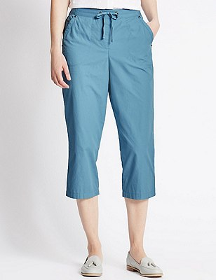 Pure Cotton Rugby Cropped Trousers, BLUE, catlanding