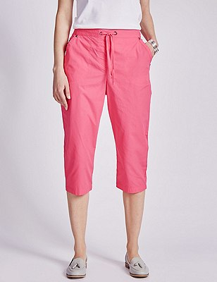 Pure Cotton Rugby Cropped Trousers, BRIGHT ROSE, catlanding