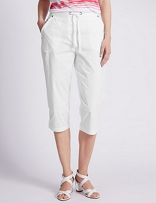 Pure Cotton Rugby Cropped Trousers, WHITE, catlanding