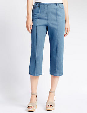 Straight Leg Cropped Jeans, CHAMBRAY, catlanding