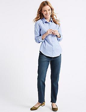 PETITE Mid Rise Ankle Straight Leg Jeans, DARK INDIGO, catlanding