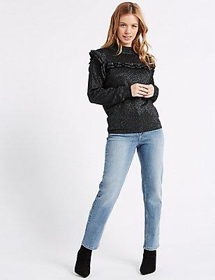 PETITE - Jeans met middelhoge taille en rechte pijpen, LICHT INDIGO, catlanding