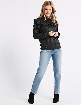 PETITE Mid Rise Ankle Straight Leg Jeans, LIGHT INDIGO, catlanding