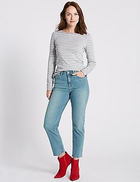 Ankle Straight Leg Jeans, LIGHT INDIGO, catlanding