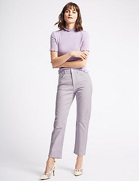 Straight Leg Jeans , LILAC, catlanding