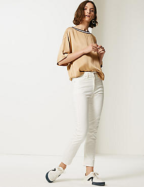 Straight Leg Jeans , ECRU, catlanding