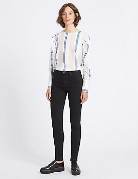 Frayed Hem Mid Rise Skinny Leg Jeans, BLACK, catlanding