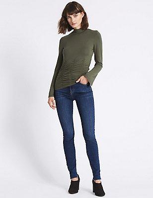 Cut Hem Mid Rise Skinny Leg Jeans, INDIGO, catlanding
