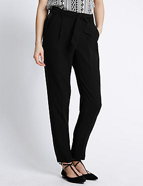 Side Striped Tapered Leg Belted Trousers