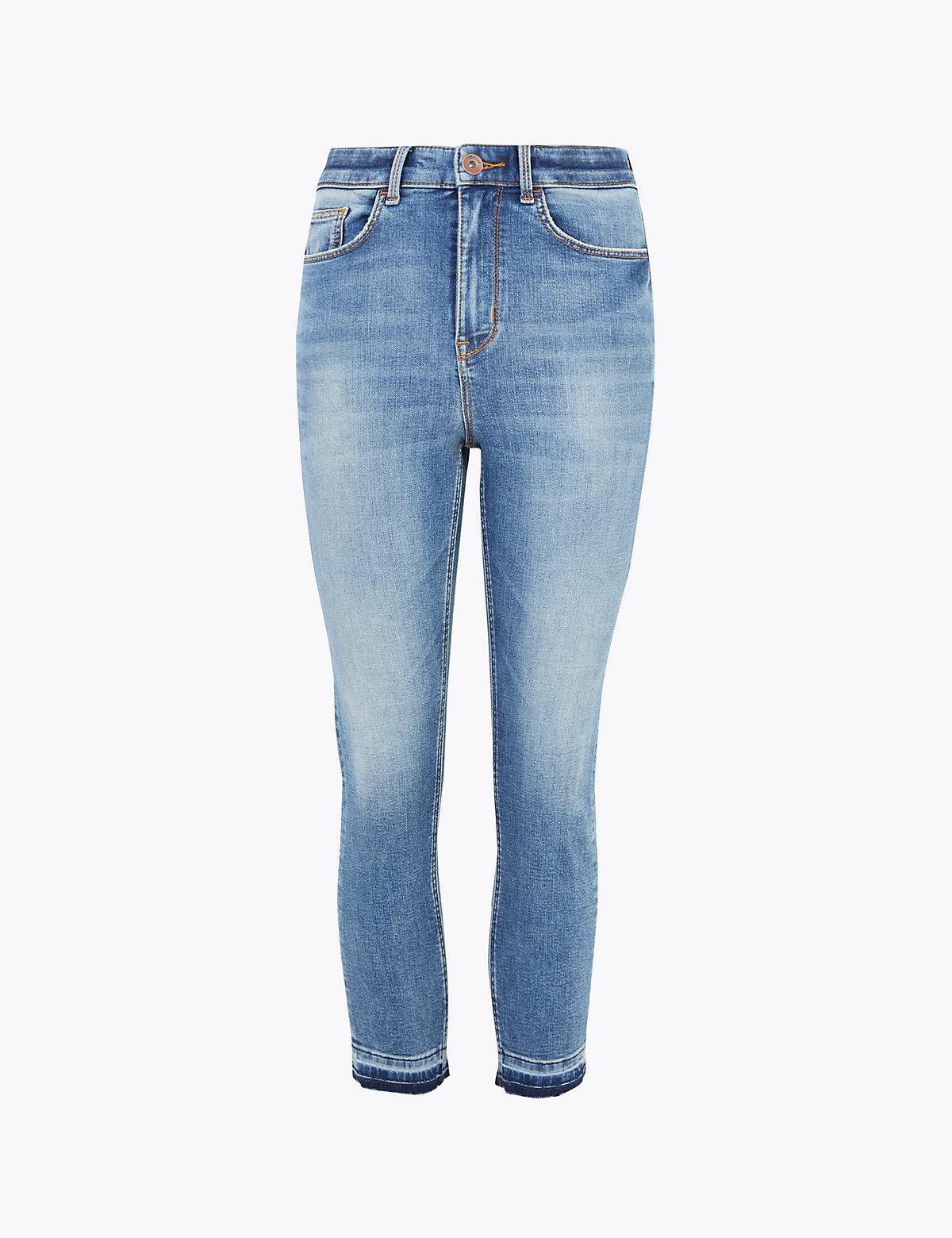 Укороченные мягкие джинсы скинни с высокой талией