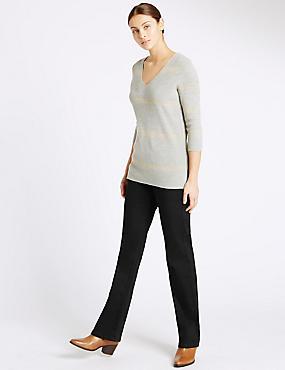 Slim Boot Cut Jeans, BLACK, catlanding