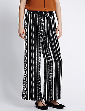 Striped Palazzo Trousers with Belt