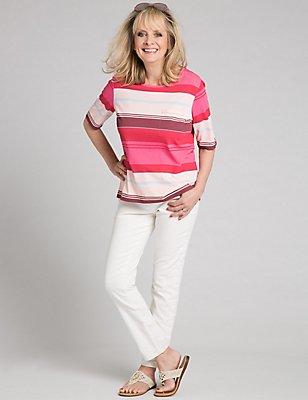 Jeans mit schmalem Bein und seitlichem Flechtdesign, ECRU, catlanding