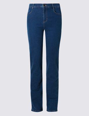 Классические прямые джинсы с высокой посадкой M&S Collection T576315