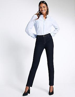 Jeans mit geradem Bein und mittelhohem Bund, INDIGO MELANGE, catlanding