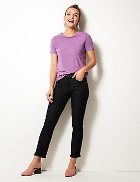 Jeans mit geradem Bein und mittelhohem Bund, SCHWARZ, catlanding