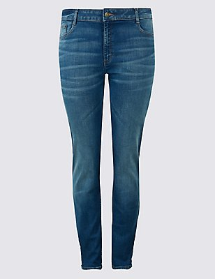 PLUS Straight Leg Mid Rise Jeans , MEDIUM INDIGO, catlanding