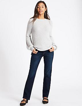 Ozone Mid Rise Straight Leg Jeans, DARK INDIGO, catlanding