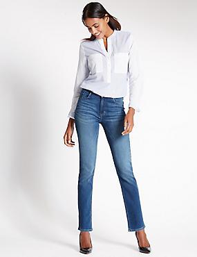 Jeans met middelhoge taille, rechte pijpen en ozon-wassing, MIDDEN INDIGO, catlanding