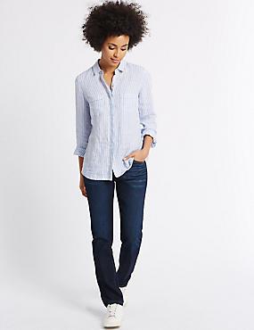 Jeans met middelhoge taille, rechte pijpen en ozon-wassing, INDIGO MIX, catlanding