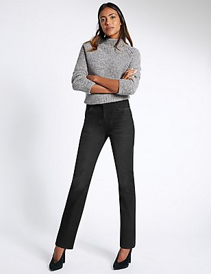 Ozone Mid Rise Straight Leg Jeans, BLACK, catlanding
