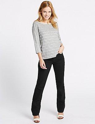 PETITE Mid Rise Straight Leg Jeans, BLACK, catlanding