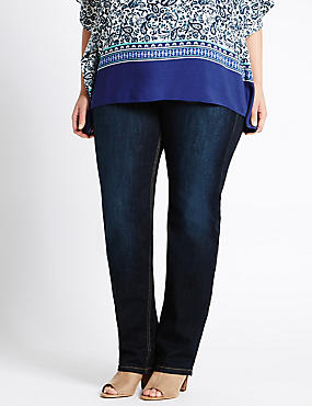 PLUS Straight Leg Jeans, MEDIUM INDIGO, catlanding
