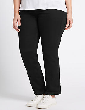 PLUS Straight Leg Jeans, BLACK, catlanding