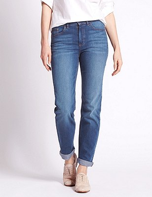 Straight Leg Ozone Wash Jeans, LIGHT INDIGO, catlanding