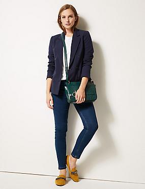 Jeans met middelhoge taille en smalle pijpen, MIDDEN INDIGO, catlanding