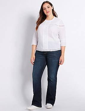 PLUS– Jean bootcut coupe slim taille normale, aspect délavé, INDIGO/INDIGO ASSORTI, catlanding