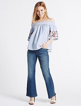 PETITE Slim Bootcut Jeans, MED BLUE DENIM, catlanding