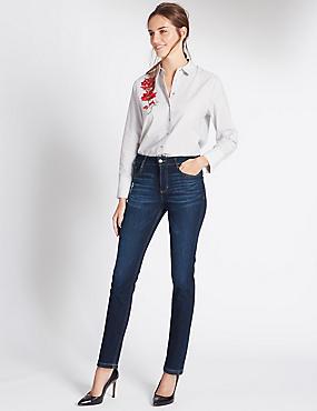 Jeans met smalle pijpen, DONKER INDIGO, catlanding