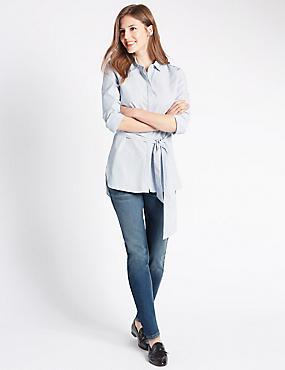 Jeans met smalle pijpen, MIDDEN INDIGO, catlanding